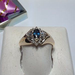.60ctw Blue Sapphire & Diamond 14Kt YG Ring#14334